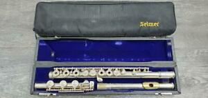 SELMER-OMEGA-STERLING-SILVER-OPEN-HOLE-B-FOOT-GOLD-LIP-PLATE-FLUTE-PRE-OWNED