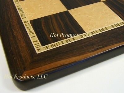 "21 1//2/"" Black /& Birdseye Maple Wood Large Chess Board"