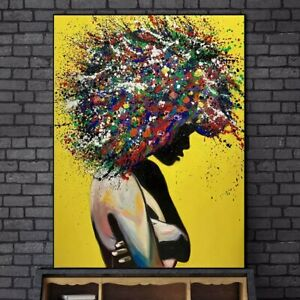 Abstract African Girl Wall Art Canvas Paintings Graffiti Art Posters Home Decor Ebay