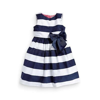 New Baby Kid Girls One Piece Dress Blue White Striped Bowknot Skirts Tutu Dress