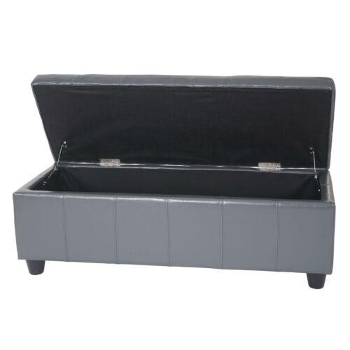 Kunstleder 112x45x45cm grau Leder Sitzbank Bank Aufbewahrungs-Truhe Kriens