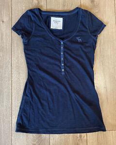 Abercrombie-amp-Fitch-Women-039-s-T-Shirt-Blue-Button-Short-Sleeve-Medium-Cotton
