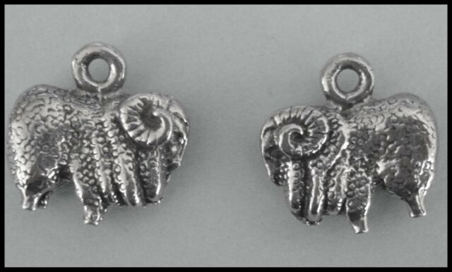 PEWTER CHARM #288 x 2 MERINO SHEEP LAMBS RAMS (15mm x 15mm) AUSSIE double sided