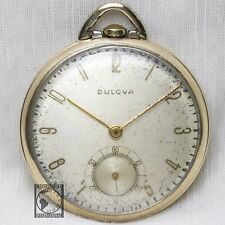 10k Gold 1952 BULOVA 17 Jewel Wind Up Pocket Watch Swiss Made Model 17AH Vintage