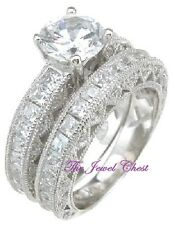 3 Ct Round Princess cut Diamond Solitaire Engagement Ring Wedding Band Platinum