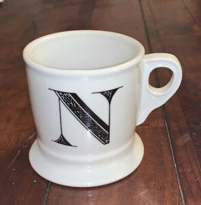 Anthropologie Letter N Initial Coffee Mug White Black Retro Shaving Cup Monogram