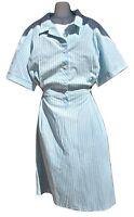 Cintas Blue Grey Pinstripe Maid Shirt Dress Xl-3x Reg. D Polyester Cotton