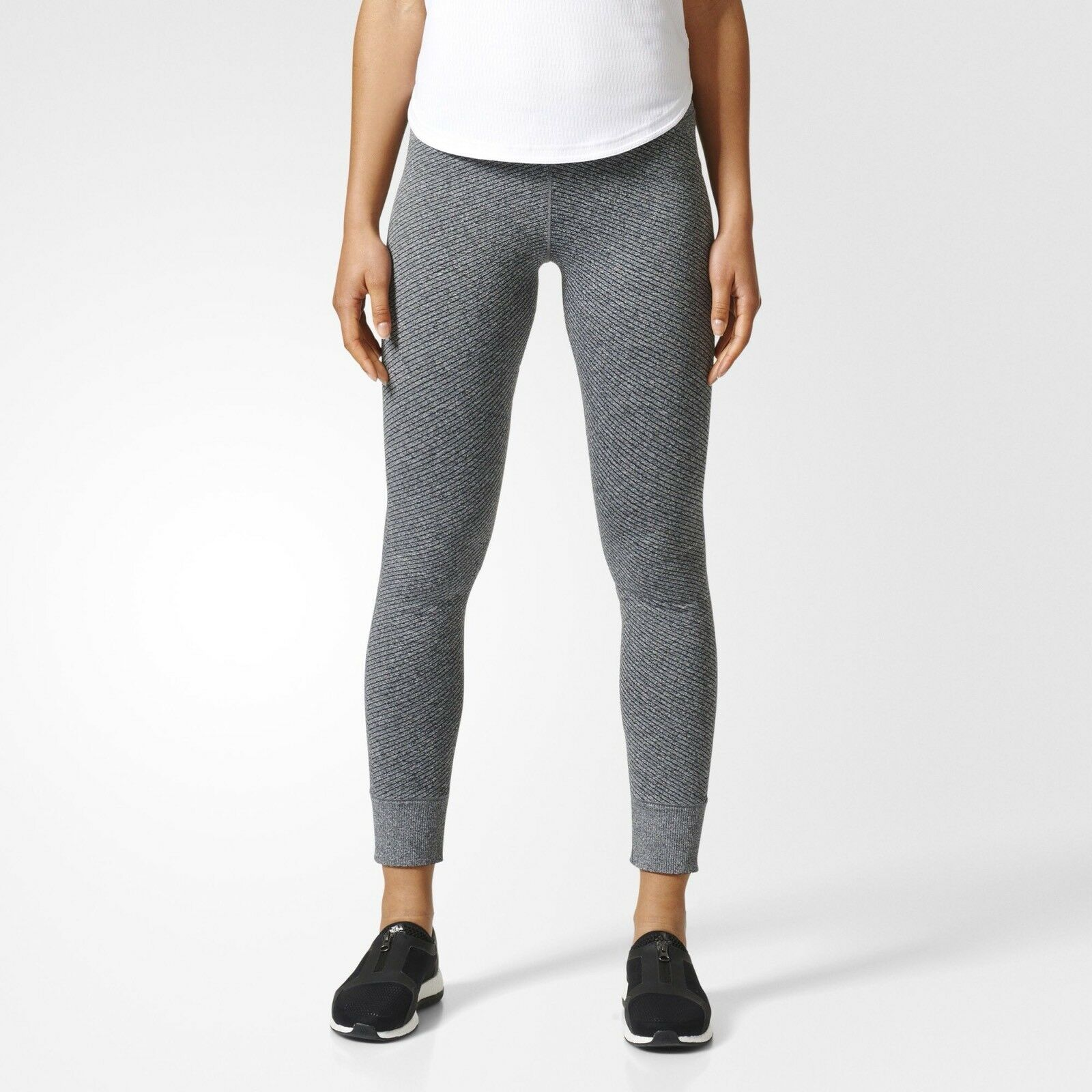 ADIDAS X REIGNING CHAMP Donna PRIMEKNIT PK Grey Knitted Leggings BR5542 Small