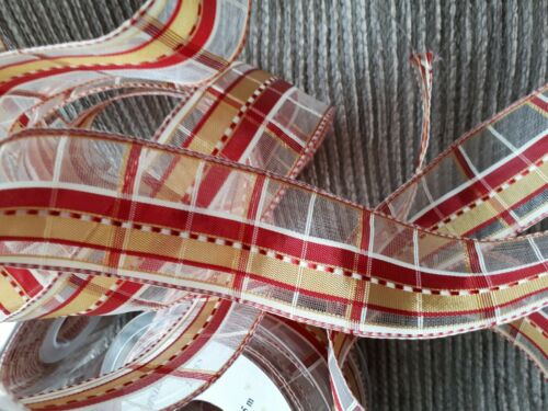100m 4 reels wired ribbon 40mm wide RED /& GOLD organza Christmas FREE P/&P K