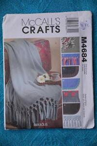 McCALL-039-S-CRAFTS-M4684-NEW-Sewing-PATTERN-BLANKETS-8-types-UNCUT-UNUSED