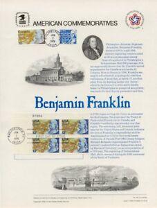 66-13c-Benjamin-Franklin-1690-USPS-Commemorative-Panel-w-FDC-w-Canada-691