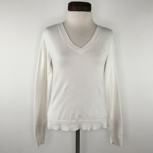 Lilly-Pulitzer-White-Long-Sleeve-V-neck-Top-Shirt-Womens-XS