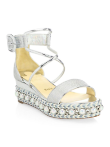 premium selection 920e7 15434 Details about 100% AUTHENTIC NEW WOMEN LOUBOUTIN CHOCAZEPPA 60 SILVER WEDGE  SANDALS US 7