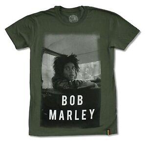 Bob-Marley-en-Voiture-vert-olive-T-Shirt-Nouveau-Officiel-Adulte-Reggae-Band-Rasta