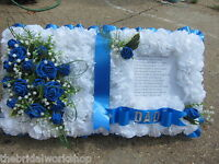 Funeral Flowers Grave Tribute Floral Based Open Book Bible- All Colours & Sizes