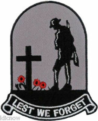 "Lest We Forget Embroidered Patch 6cm x 7.5cm (2 1/4"" x 3"") Sew On/Iron On"