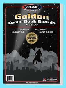 50 BCW GOLDEN AGE SIZE COMIC BOOK BACKING BOARDS Storage White Backer Acid Free