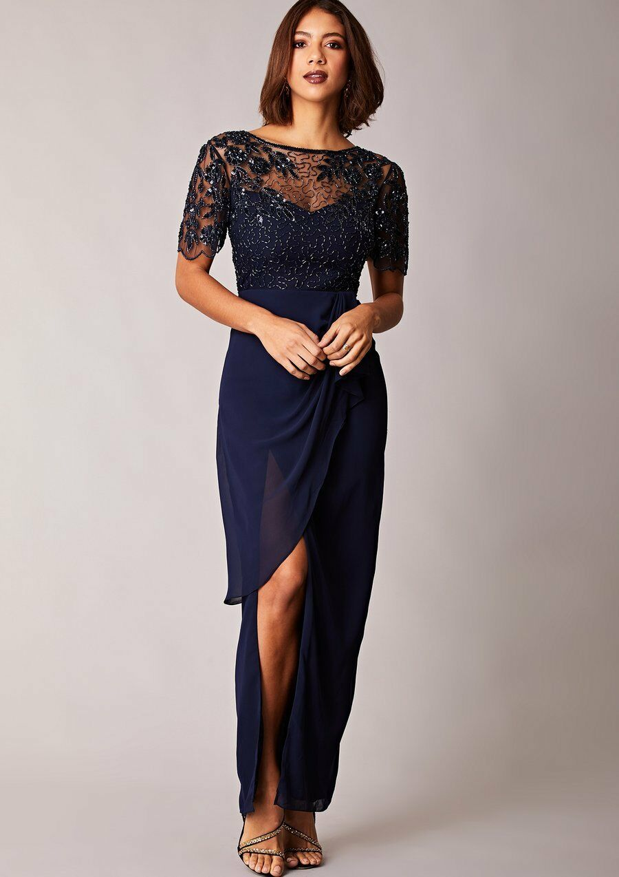 Virgos Lounge Ariann Wrap Mesh Sleeve Party Bridesmaid Wedding Maxi Dress 14 42