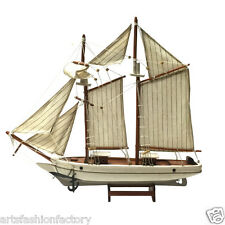 "20"" Handcrafted Wood Sailboat Model, 20"", 50 cm Nautical Sails Boat Model"