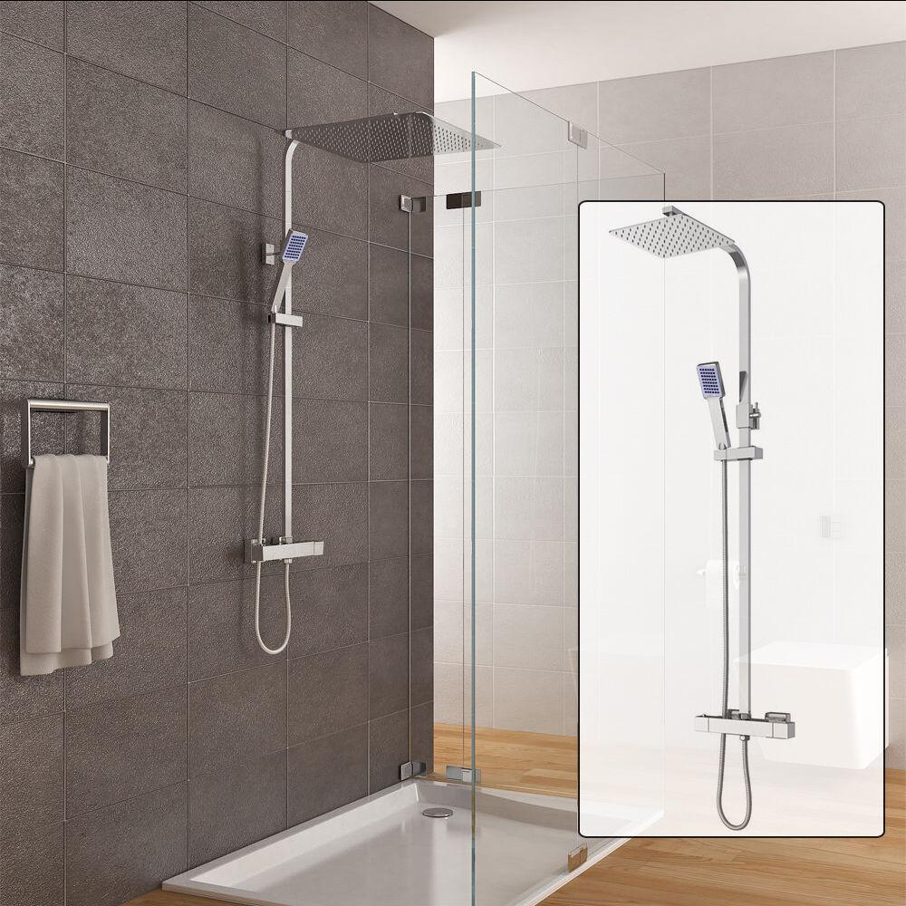 Colonna doccia termostatica saliscendi acciaio squadrato completo e doccetta IT