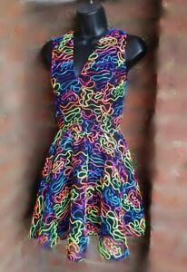 Rainbow Line Ball ballo estate Squiggle Neon Size A Dress nero S festa RtAdfnqw