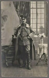 GERMAN-ARMY-OFFICER-WW1-OVER-COAT-ANTIQUE-RPPC-PHOTO-POSTCARD