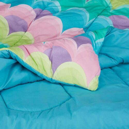 Twin Full Queen Bed Bag Blue Pink Green Purple Waves 7 pc Comforter Sheet Set