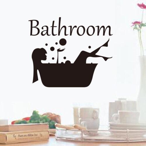 Bathroom Wall Sticker Removable Art Vinyl Mural Room Toilet Door Vinyl Decal LP