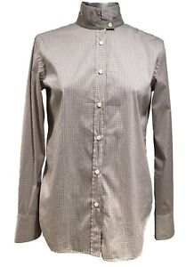 NEW-BRUNELLO-CUCINELLI-BEIGE-BUTTON-DOWN-SHIRT-WITH-STAND-UP-COLLAR-S-595