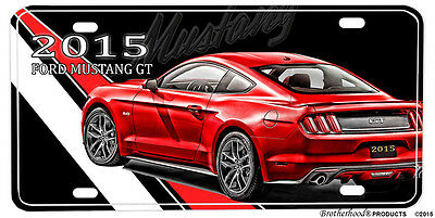 2015 Ford Mustang GT Red Design Aluminum License Plate Novelty Sign