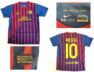 Nike Fc Barcelona Qatar Foundation Lionel Messi Soccer Jersey Sz 28 Dri Fit Ebay