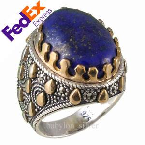 Natural-Lapis-Lazuli-Lazord-Stone-925-Sterling-Silver-Turkish-Men-Ring-All-Sizes