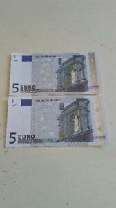 Amical 2 Billets Neufs De 5 Euros France 2002 Signature Jean-claude Trichet Rendre Les Choses Commodes Pour Le Peuple