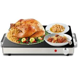 Electric-Warming-Tray-Stainless-Steel-Dish-Warmer-w-Black-Glass-Top-Hot-Plate