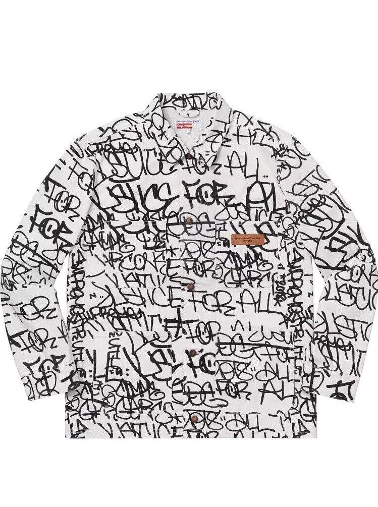 Supreme Comme Des Garcons SHIRT CDG Printed Canvas Chore Coat Weiß Extra Large