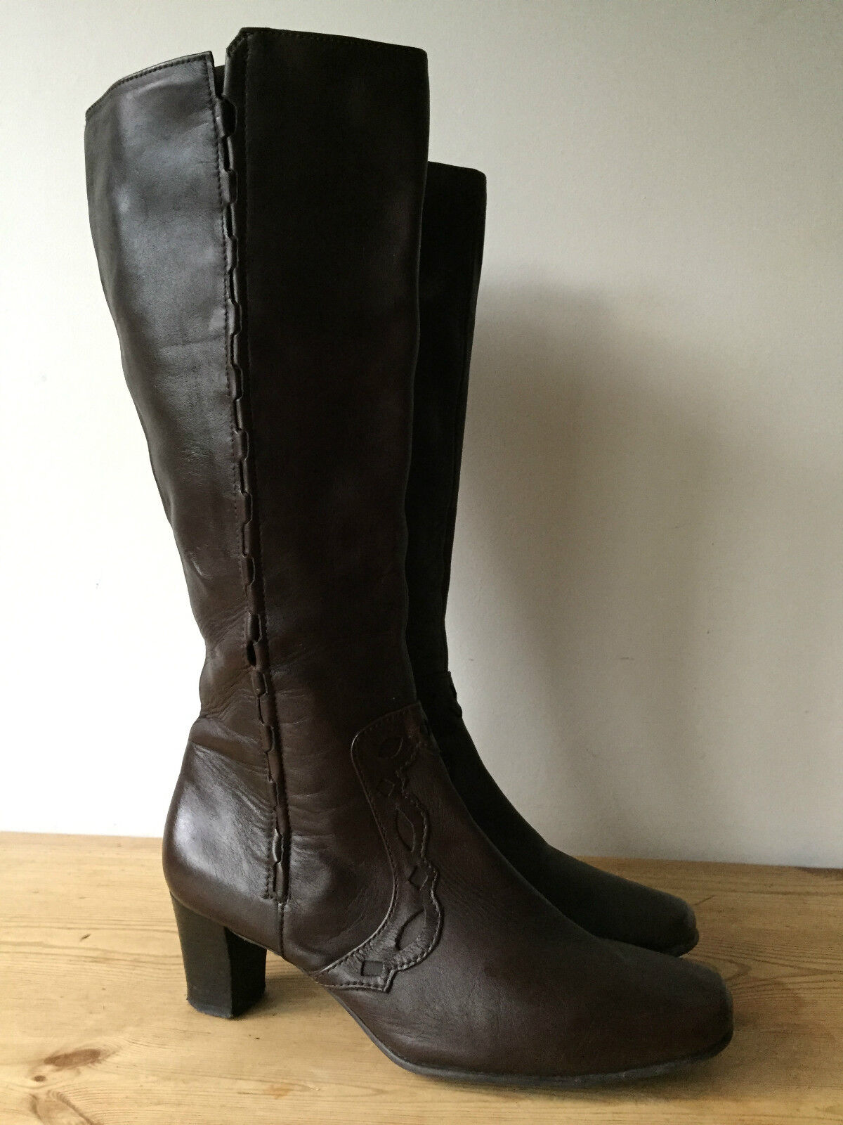K by CLARKS LADIES BROWN LEATHER KNEE HIGH BOOTS UK7