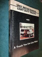 1986 GMC TRUCK SHOP MANUAL / UNIT REPAIR BOOK ORIGINAL PICKUP / VAN / JIMMY /S15