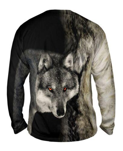 Gray Wolf Half Skin Yizzam New Mens Long Sleeve Tee Shirt XS S M L XL 2XL 3X