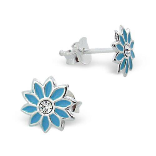 925 Silber Kinder Ohrringe Ohrstecker Stern Blume blau CZ OK024