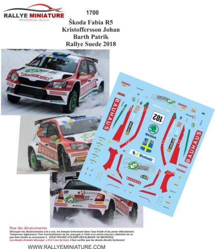 DECALS 1//43 REF 1700 SKODA FABIA R5 KRISTOFFERSSON SWEDISH RALLY 2018 RALLYE WRC