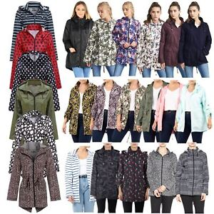 Ladies-Plus-Size-Plain-Printed-Parka-Hooded-Fishtail-Polyester-Mac-Raincoats