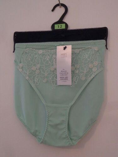 BNWT LADIES M/&S COLLECTION RANGE 2 PACK HIGH LEG STYLE KNICKERS GREEN  SIZE 14
