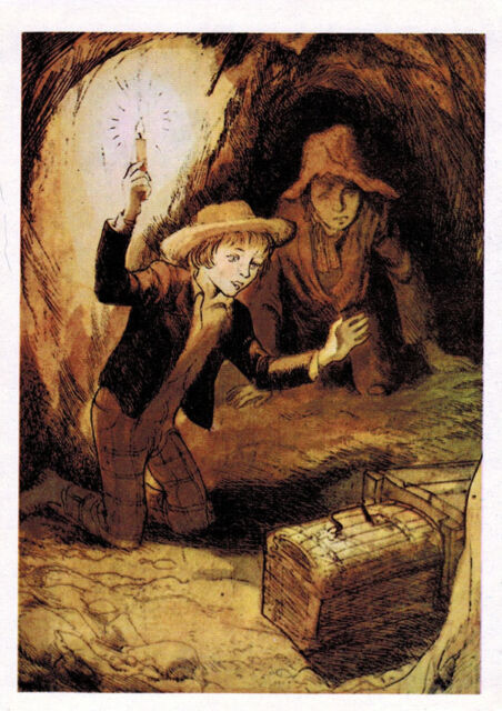 1976 Tom Sawyer & Huckleberry Finn found treasure box Russian card by G.Mazurin