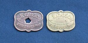 Two Vintage A E Gibson, Stratford Market Metal Tokens C1950s - 2/6d & 1/-