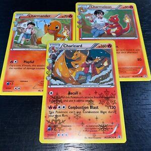 Pokemon-Tcg-CHARIZARD-CHARMELEON-CHARMANDER-3-tarjeta-evolucion-Set-RC5-Casi-Nuevo