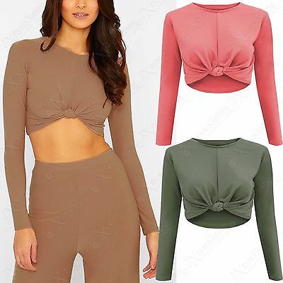 Konstruktiv New Ladies Front Knot Crop Top Long Sleeve Womens Bodycon Look Summer Festival Fest In Der Struktur