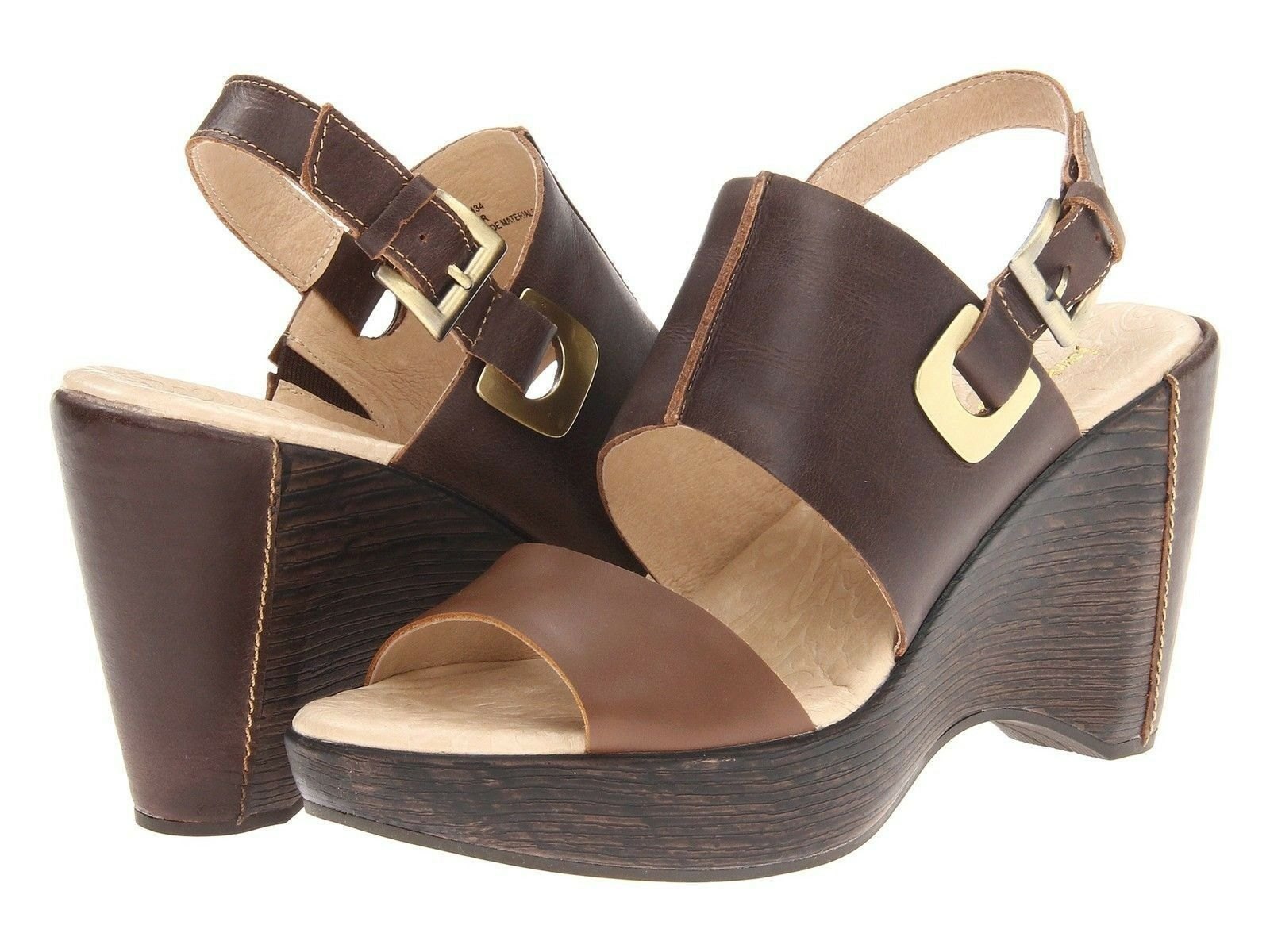 New femmes Jambu Gem  marron Leather Sling Back Sandal Heel chaussures 6 7 8 9.5 10 11