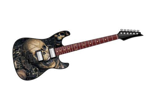 Electric GUITAR Motif Evil Gothic Skull Inside vinyl Car Case Amp sticker decal