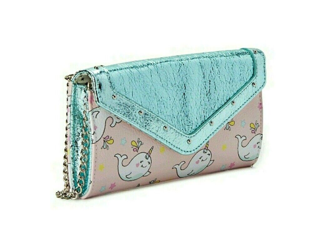 Narwhal Clutch Wallet Blue Pink Womens No Boundaries NEW