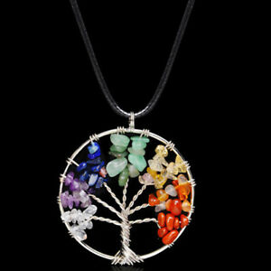 Pendant-Necklace-Natural-Gemstone-Tree-of-Life-7-Chakra-Healing-Crystal-Charm